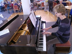Denise Gunson played during the lunch break. A lovely way to enjoy lunch. The piano is a Schimmel.