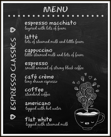 Coffee Menu Art for the Kitchen