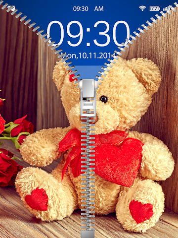 android Cute Teddy Bear Zip Lock Screenshot 1