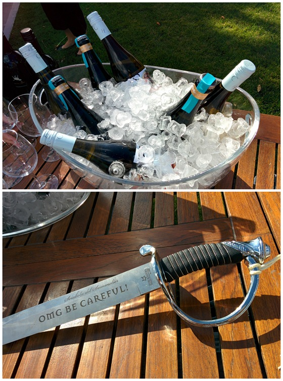 OMG sparkling wine and the custom Blasted Church saber