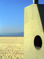 Venice Beach in LA. There are public washrooms all over the beach area.  This is a view from one of the supporting pillars.
