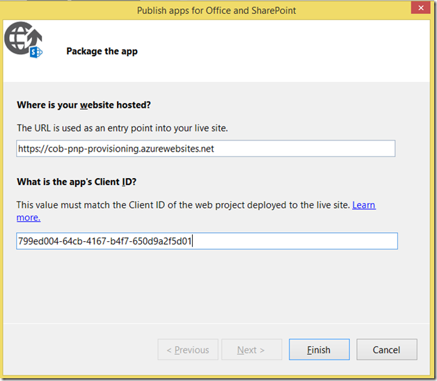 VS add-in publish dialog 2