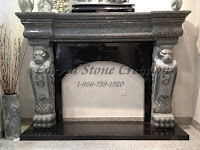 Lion Base Arched Fire Place Elephant Skin & Absolute Black Granite