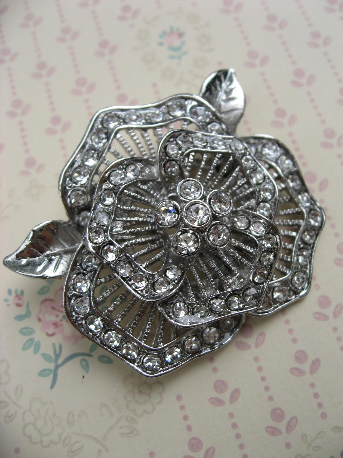 Lovely rose - sparkle rhinestone for wedding bridal hair comb brooch pin