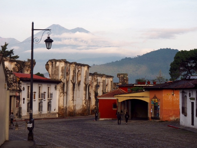 Volcano and buildings in Antigua, Guatemala at 6am