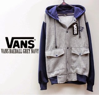 Jaket Vans Baseball Grey Navy