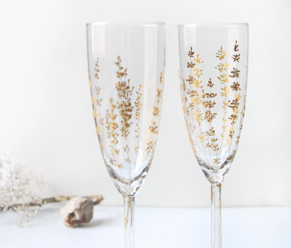 Gold painted Champagne Flutes