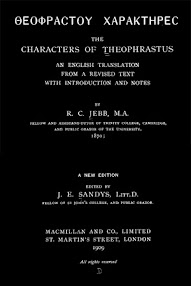 Cover of Paracelsus's Book The Characters of Theophrastus