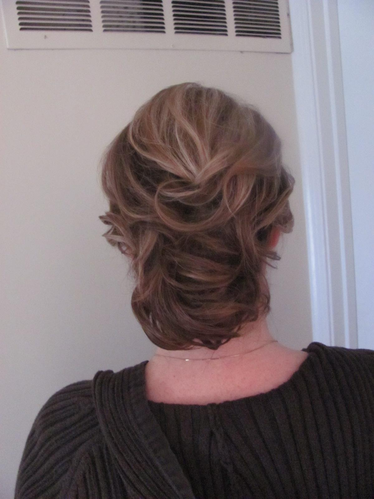 long and low updo. trial run