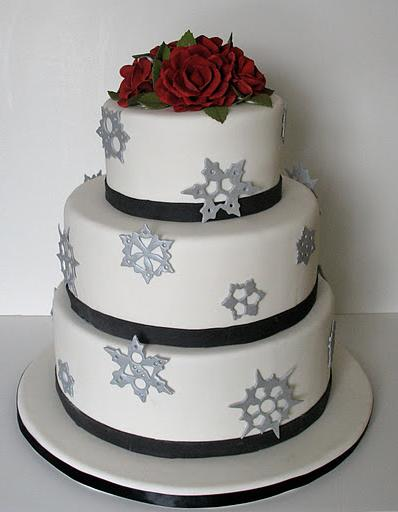 A winter wedding cake with