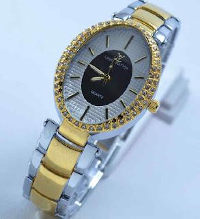 jam tangan LV Oval Diamond Silver kombi Gold
