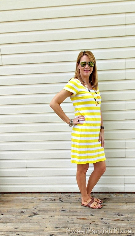 yellow striped shirt dress1