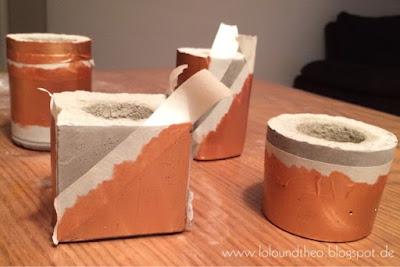 Kerzenhalter aus Beton mit Klebeband zum Anmalen von Flächen