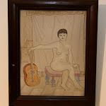 'Desnudo con guitarra' de Juan Fidel. Técnica mixta sobre cartón