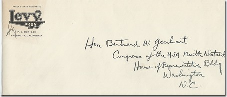 Envelope to Bertrand Gearhart