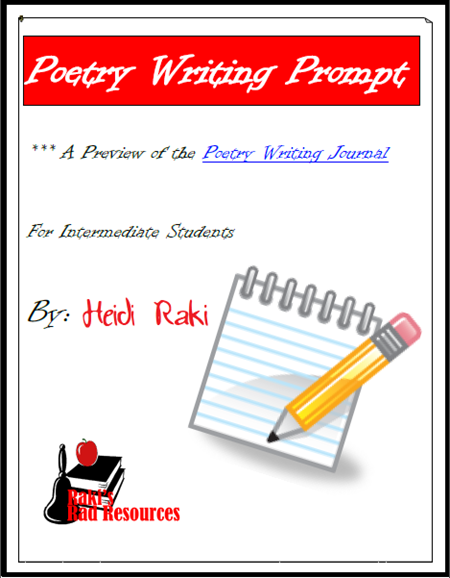 Free download - poetry writing prompt that takes you through brainstorming, drafting, editing and revising. Designed for Intermediate students by Raki's Rad Resources.