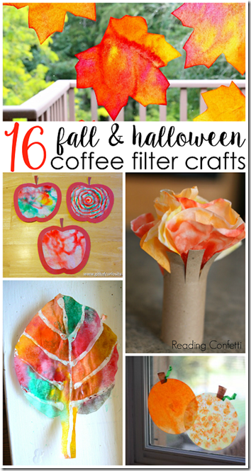 16 Coffee Filter Fall Crafts for Kids - so many, fun, creative and unique fall crafts for kids- leaves, apples, pumpkins, and so many more using coffee filters
