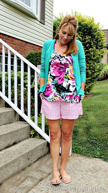 pink plaid shorts, floral tank, turquoise cardigan2