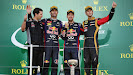Remi Taffin (Renault), Mark Webber (AUS), Sebastian Vettel (GER/ Red Bull Racing) and Romain Grosjean (FRA/ Lotus)