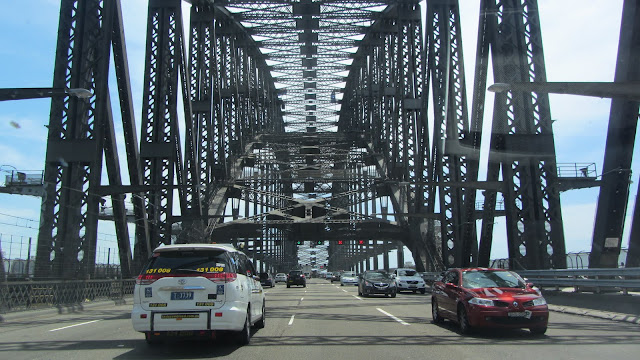 Going over the Sydney Harbour Bridge.