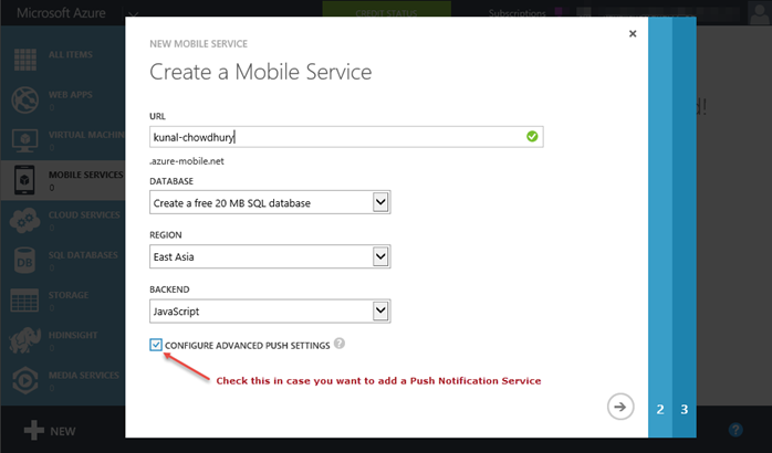 2. Windows Azure - Create a new Mobile Service (www.kunal-chowdhury.com)