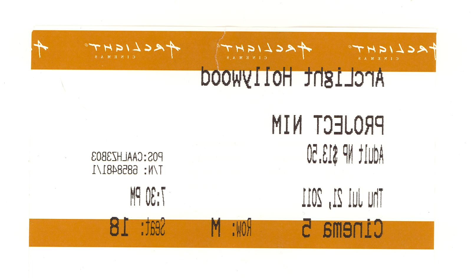 Project Nim movie ticket stub