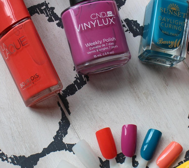 Bourjois-Orange-Outrant,CND-Vinylux-Crushed-Rose,BarryMSunset-Make-me-Teal-swatches
