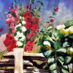 Roses trémières, pastel sec, 16 x 12 po.