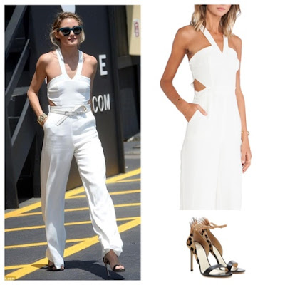 Olivia Palermo in White Lovers + Friends Jumpsuit