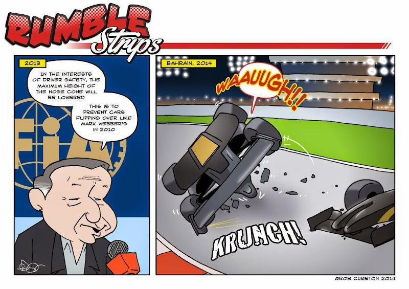 Жан Тодт объясняет зачем занизили носы - комикс Rumble Strips по Гран-при Бахрейна 2014