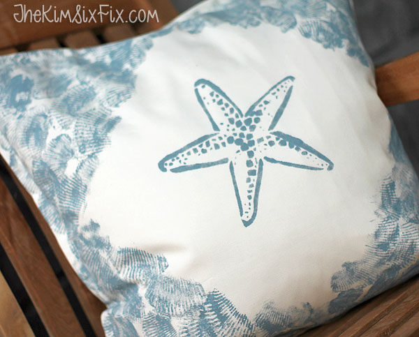 Sea shell stamped starfish pillow