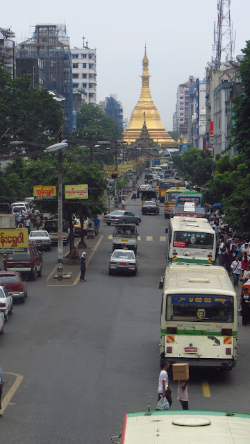 Looking towards Sule Pagoda, Central Yangon.