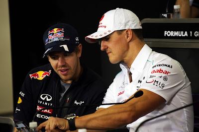 Себастьян Феттель и Михаэль Шумахер на пресс-конференции в четверг на Гран-при Бразилии 2012