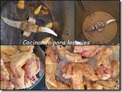 alitas de pollo con salsa de soja y guarnicion de arroz