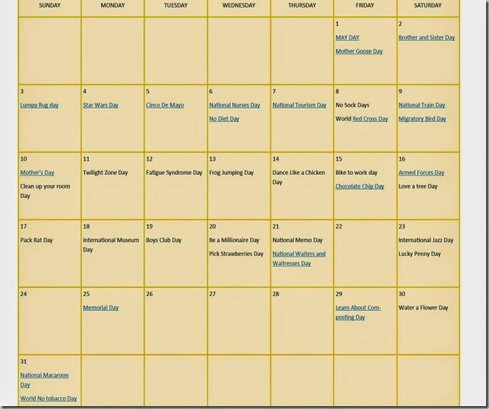 may calendar fun days