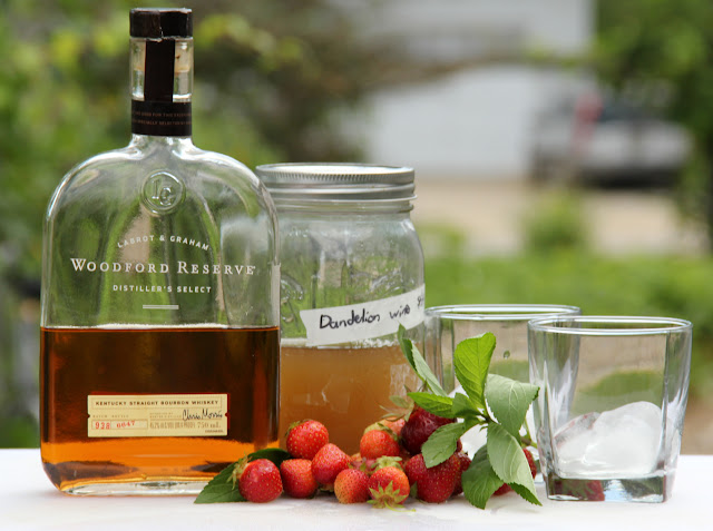Bourbon, Dandelion Wine, Strawberry summer cocktail