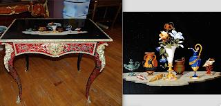 Шикарный столик с мраморной столешницей. 19-й век. Бронза, латунная инкрустация.