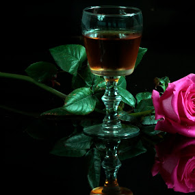 Wine, cup and Rose by Cristobal Garciaferro Rubio - Food & Drink Alcohol & Drinks ( cup, rose, drop, pink cups, drops, leaf, leaves )