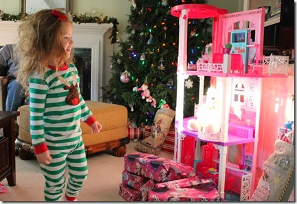 Zoey coming in to see what Santa left4