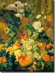 Pink and white double Hollyhocks, Morning Glory, Marigolds, Cockscombs, Passion Flowers and Forget-Me-Nots surrounding a sculpted Urn, with a Melon Plums in a wicker Basket, Peaches, Plums, a split Melon, Raspberries, Redcurrants, Walnuts, a Pomegranite, Apricots and other Fruit on a stone Ledge, with a Cabbage White, Red Admiral and Painted Lady Butterflies and other insects (1730)