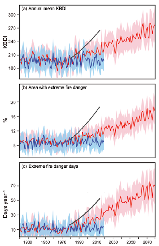 (a) Annual mean of the KBDI from the large ensemble simulation of the CESM1, (b) fractional area (%) under the extreme fire risk, and (c) the extreme fire danger (days year−1) over California. Red (blue) indicates the historical and RCP8.5 (pre-industrial) runs. Gray lines indicate 50% of the 2nd order trend of the KBDI and the extreme fire risk measures based on the NLDAS2. Graphic: Yoon, et al., 2015 / NOAA
