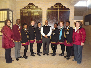 the Angels are accompanied by the coordinators,  Ms Fortuin, Ms Havenga and principal Mr Wilson.before the Market Day