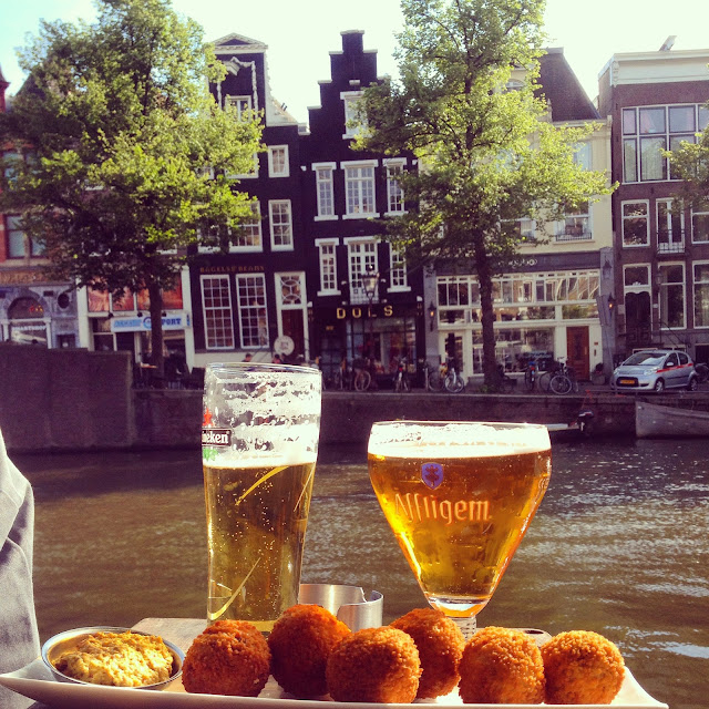 Beer and bitterballen by an Amsterdam canal