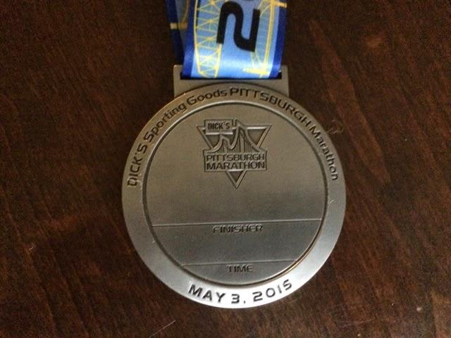 2015 Pittsburgh Marathon Medal reverse, obverse, back