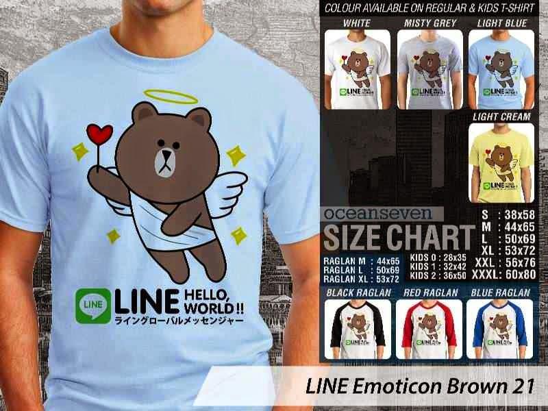 KAOS IT LINE Emoticon Brown 21 Social Media Chating distro ocean seven