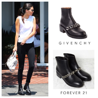 Kendall Jenner in Givenchy Laura Chain Link Ankle Boots vs Forever 21