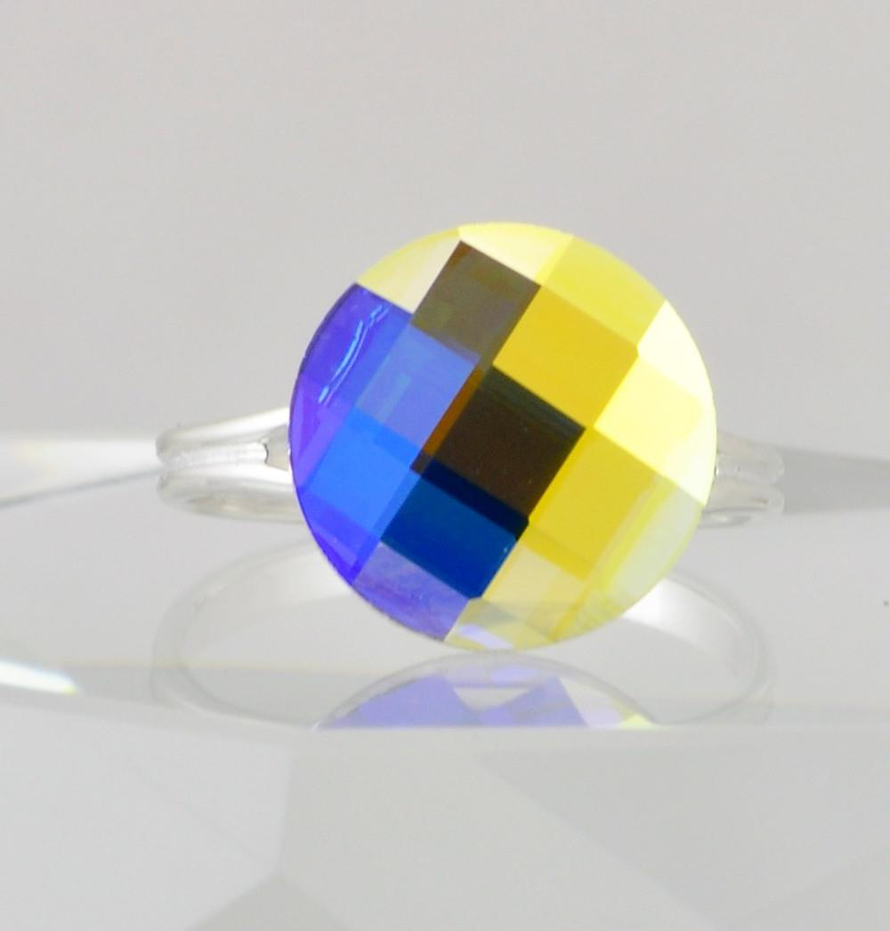 Colorful Round Swarovski Crystal Cocktail Ring - Size 8 - 10 Adjustable