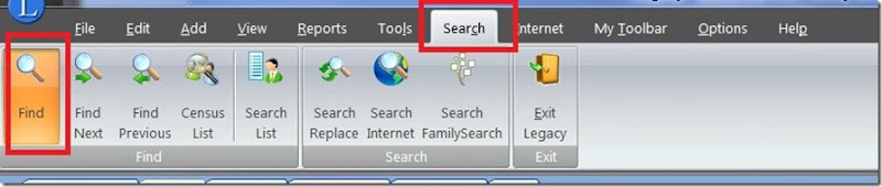 Search & find in Legacy 8