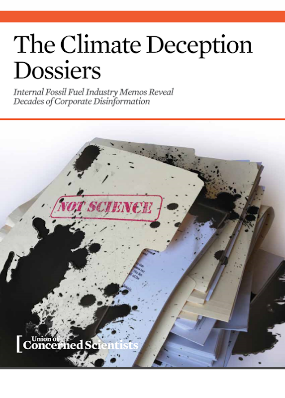 Cover of the Union of Concerned Scientists report, 'The Climate Deception Dossiers'. Graphic: Union of Concerned Scientists