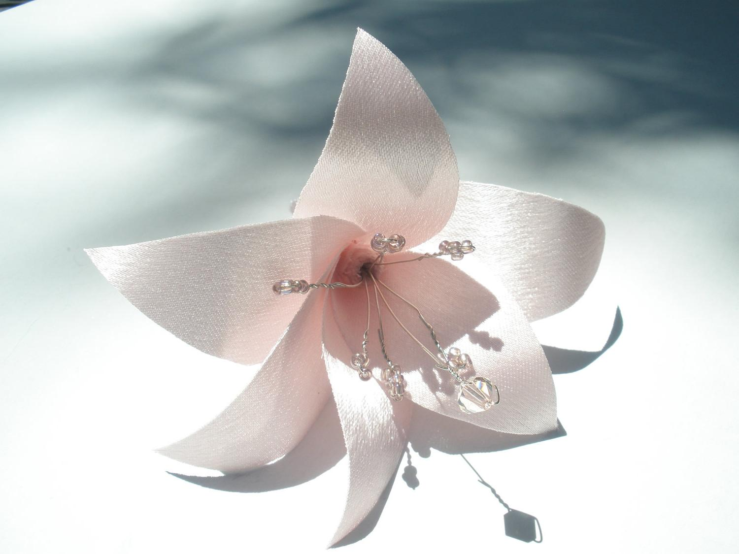 Bride Pink Flower Lily from Satin Hair Fascinator, Clip or Brooch